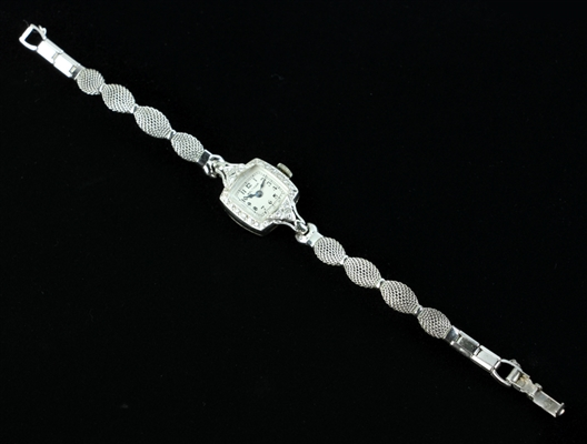 Waltham Ladies 14k White Gold and Diamond Watch