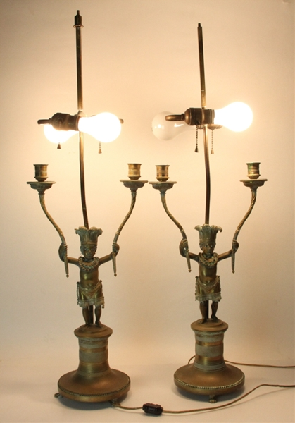 Pair of Late 19th/Early 20thC French Bronze Lamps
