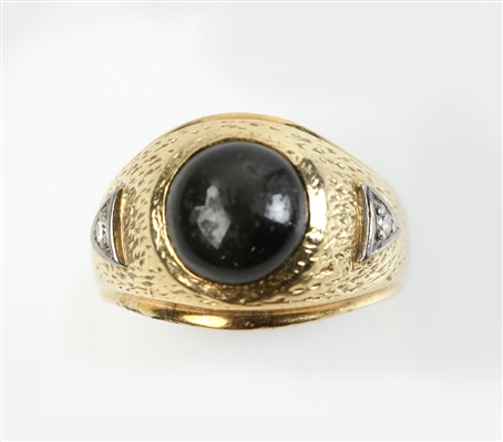 Mens Star Sapphire, 14k and Diamond Ring