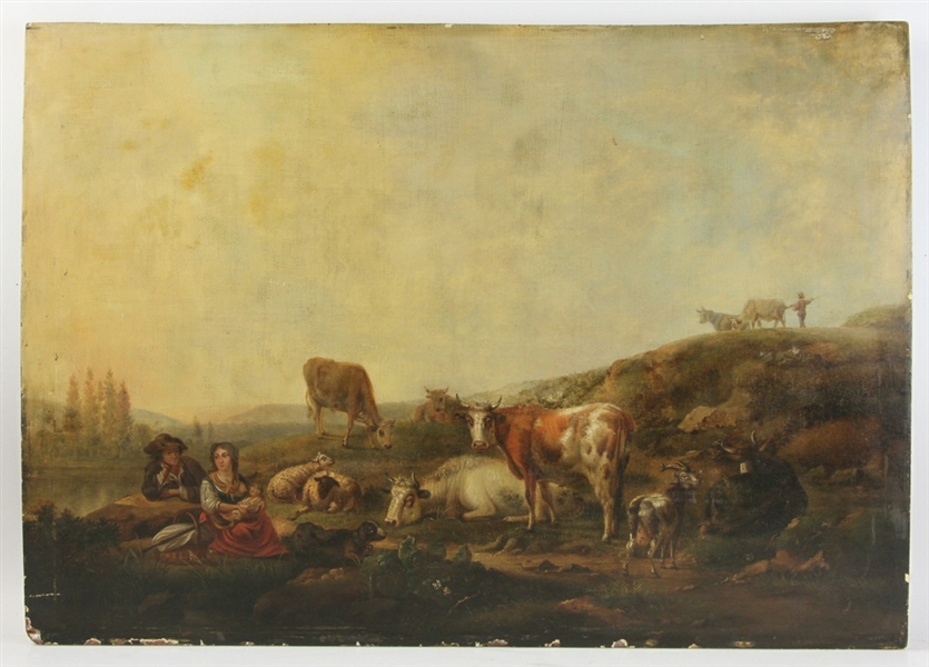 18thC Flemish Landscape, Oil on Panel
