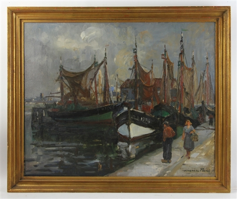 Maurice Paul, Harbor Scene, Oil on Canvas