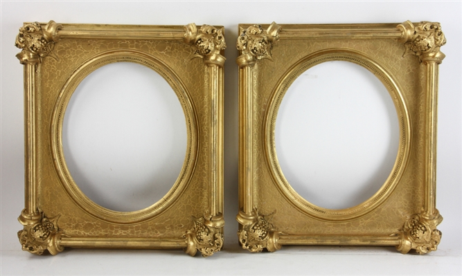 Pair of Victorian Giltwood Oval Frames