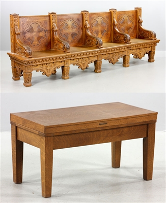 C1880s Victorian Oak Church Pew and Library Bench