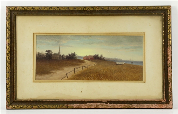 Plummer, Oceanside Scene with Church, Oil