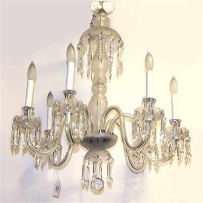 Frosted and Cut Glass Six Light Chandelier