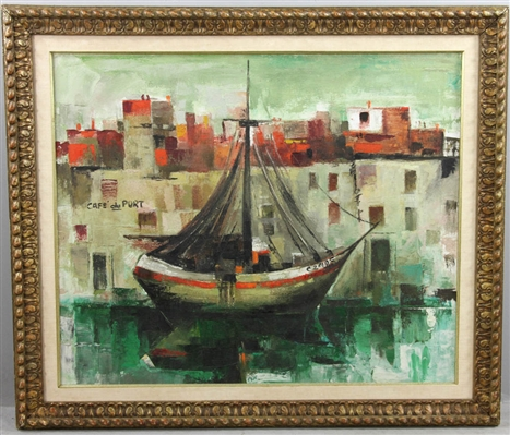 Mid 50s Modernist French Oil on Canvas