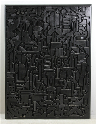 Black Painted Geometric Relief Wall Sculpture