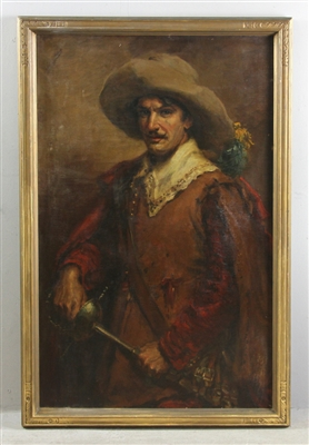 Late 19th/Early 20thC Oil on Canvas, Musketeer