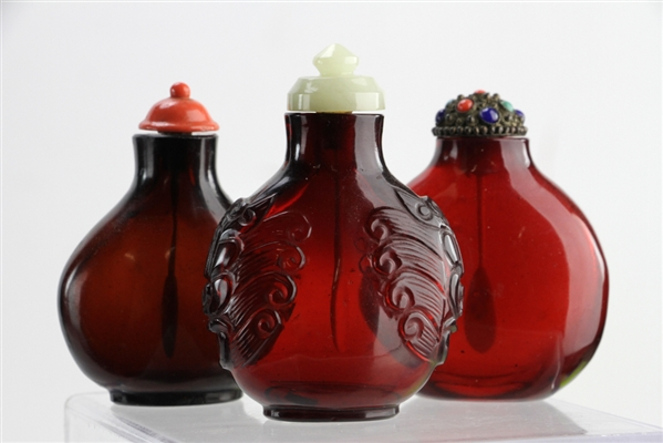 Chinese Ruby Red Peking Glass Snuff Bottles