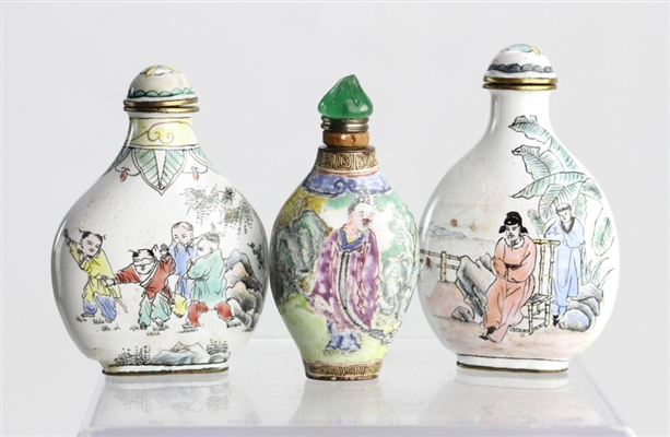 Chinese Enamel on Copper Snuff Bottles