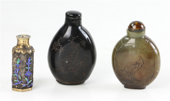 Chinese Snuff Bottles, one Enamel on Silver