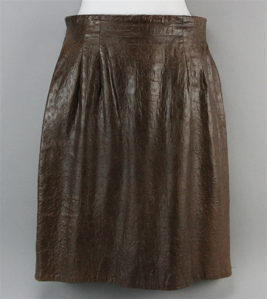Vakko Ostrich Embossed Leather Skirt