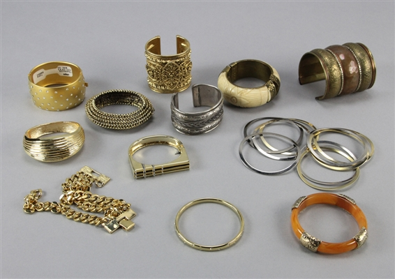 (20) Gold/Silver Tone, Composition and Bone Bracelets