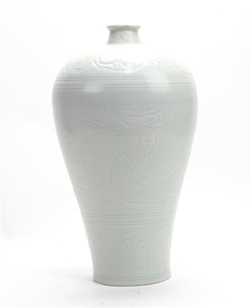 Large Chinese White Glazed Meiping Vase