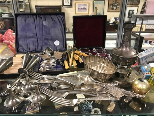 Collection of Antique Flatware and Silverplate