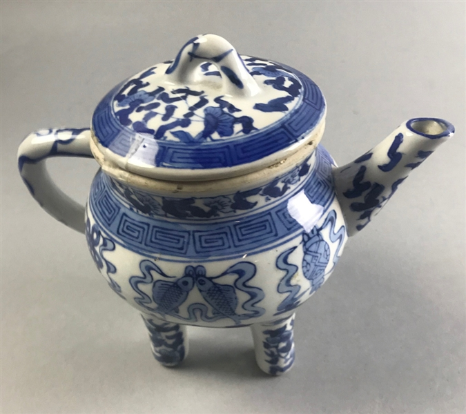 Chinese Blue and White Teapot on Legs