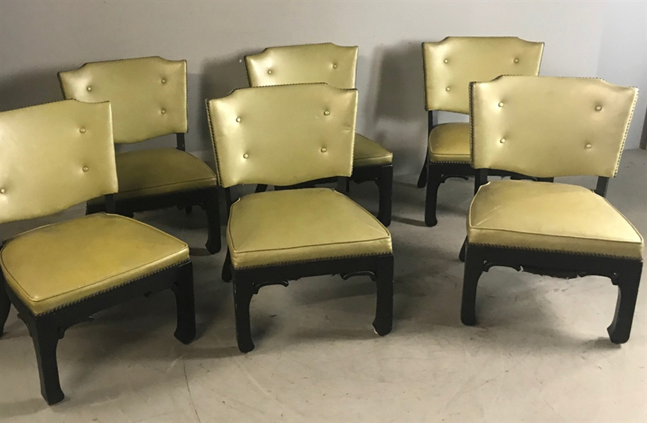 (6) Mid Century Chinese Black Lacquered Chairs