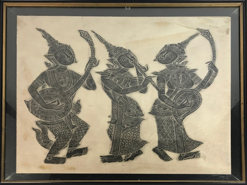 Two Thai Temple Rubbings of Stone Carvings