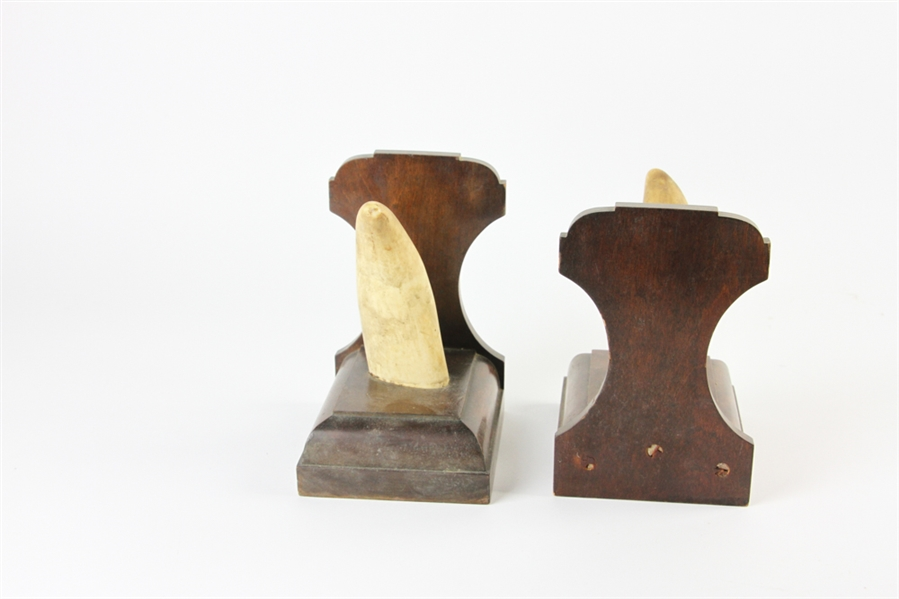 Antique Whales Tooth Bookends