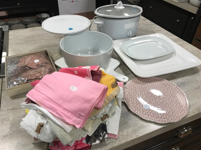Crock Pot, Table Linens, Platters, Etc
