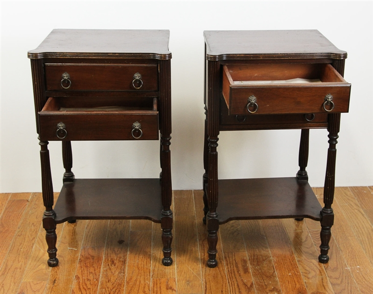 Pair of Sheraton Style Mahogany Stands