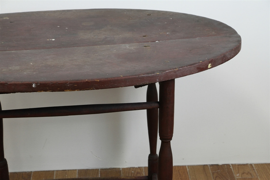 18thC Connecticut Oval Red Painted Tavern Table