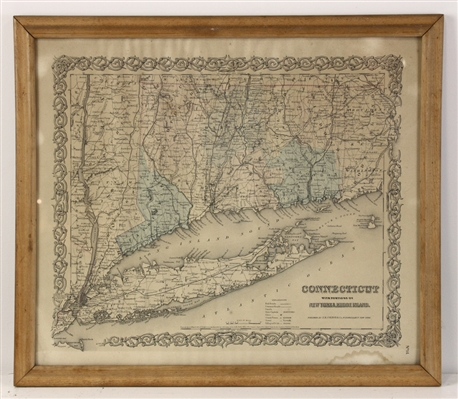 Framed Map of Connecticut