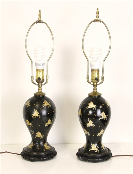 Pair of Hand Painted Indian Lamps