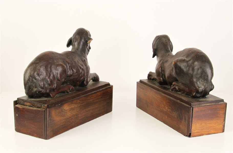 Carved Wooden Folk Art Dog and Lamb