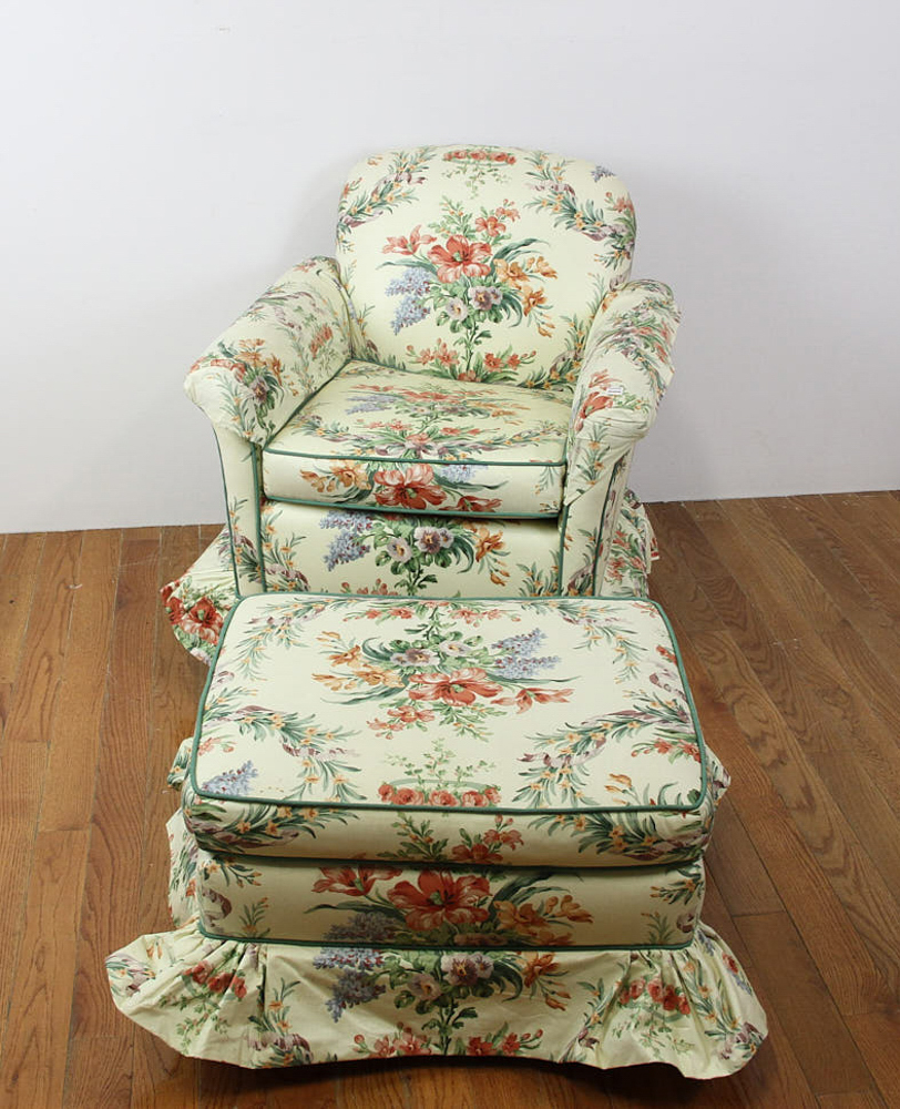 Lot Detail - Chintz Upholstered Armchair and Ottoman