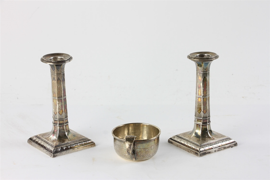 19thC English Silver Candlesticks with Sterling Cup