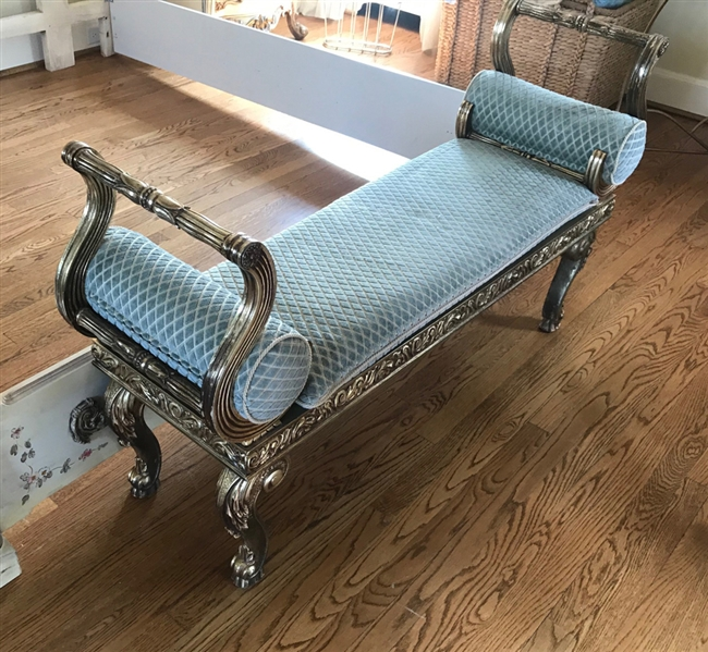 French Style Upholstered Chaise Bench