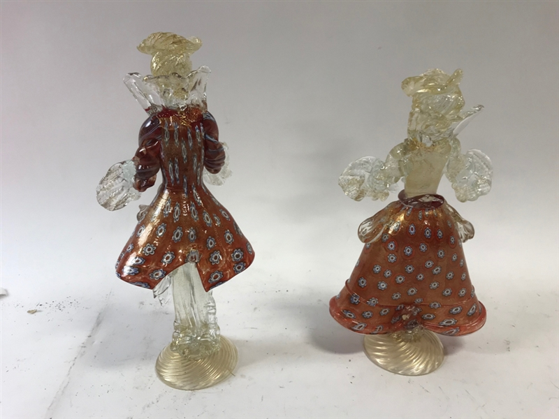 Pair of Red Venetian Glass Figures
