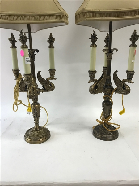 Pair of Swan Style Lamps