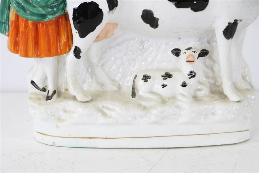 Staffordshire Figure with Maid and Cow
