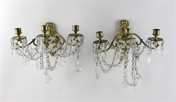 Pair of French Ormolu and Crystal Wall Sconces