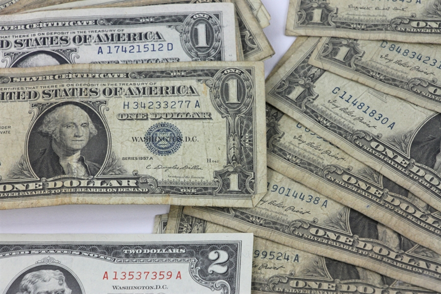 Silver Certificate, One and Two Dollar Bills, Coins
