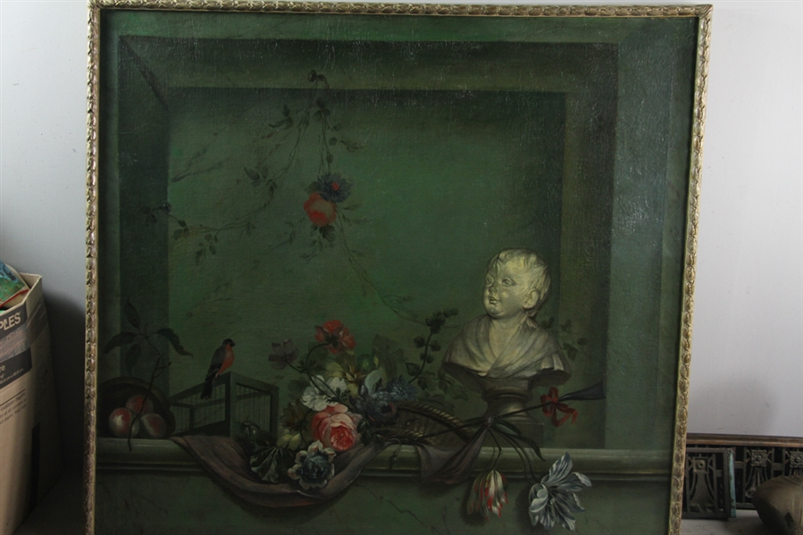 19thC French Floral Painting, Oil on Canvas