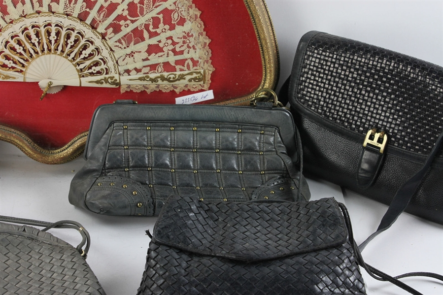 Assorted Beaded Handbags, Gloves and Fan