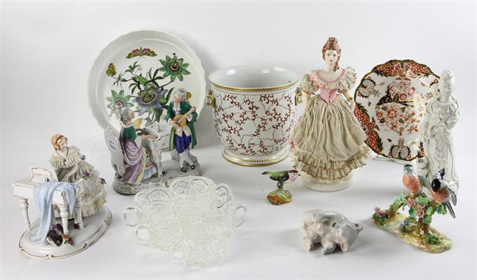 Group of Figures, La Chasse Dishes and Punch Goblets