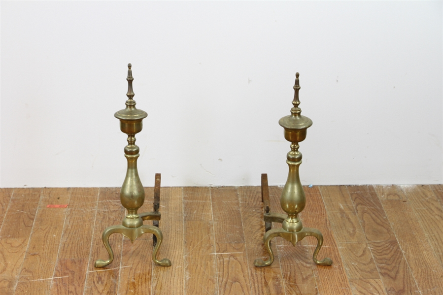 Colonial Brass Fire Fender and Andirons