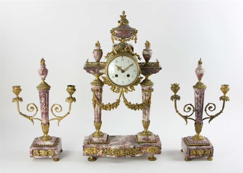 19thC French Ormolu Pink Marble Garniture Set