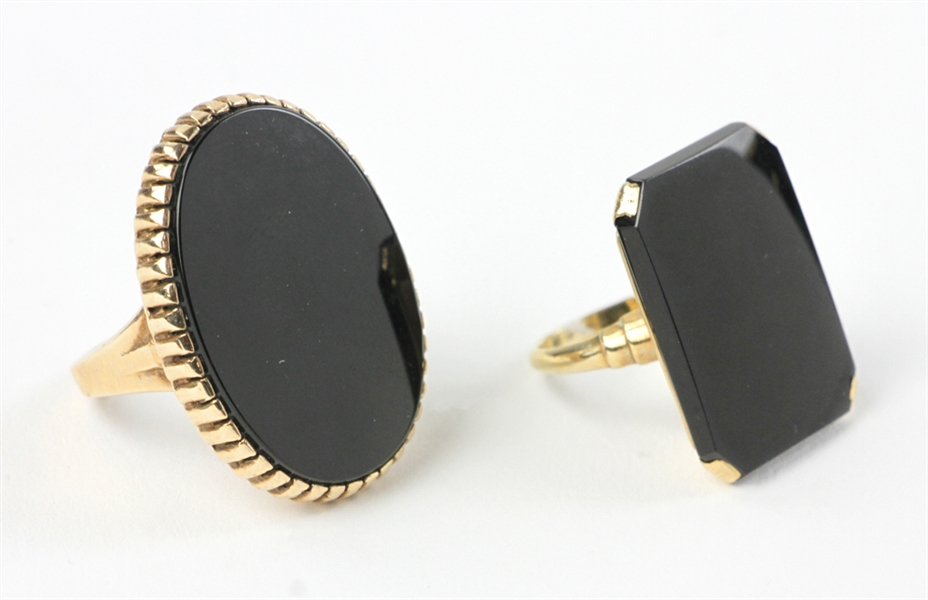 Two 10k Gold and Onyx Rings