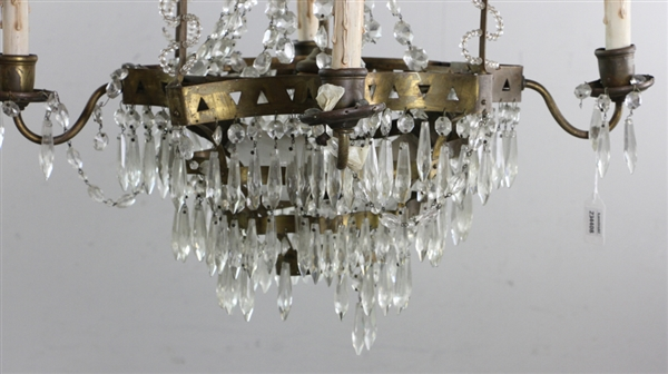 Hollywood Regency Brass and Crystal Chandelier