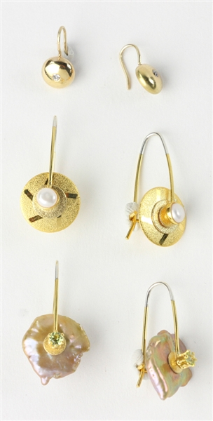 Box of Three Gold Earrings