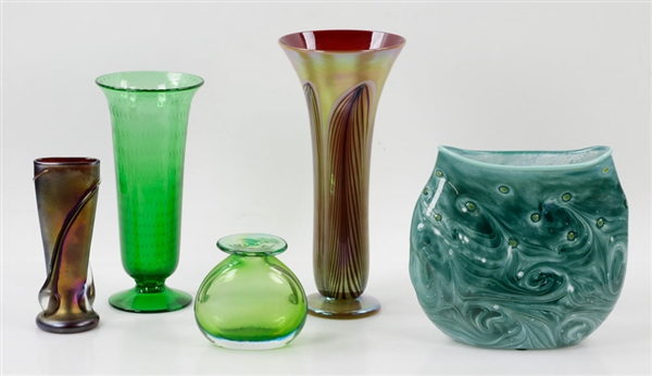 Collection of (5) Hand Blown Glass Vases