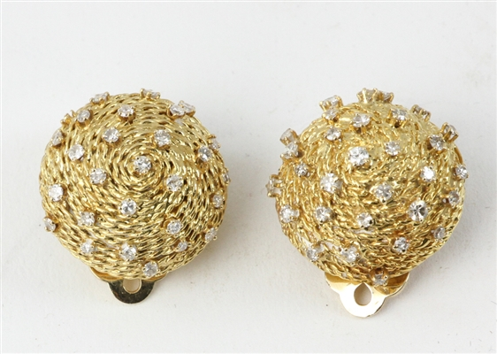 Pair of Ladies 14k Gold and Diamond Earrings