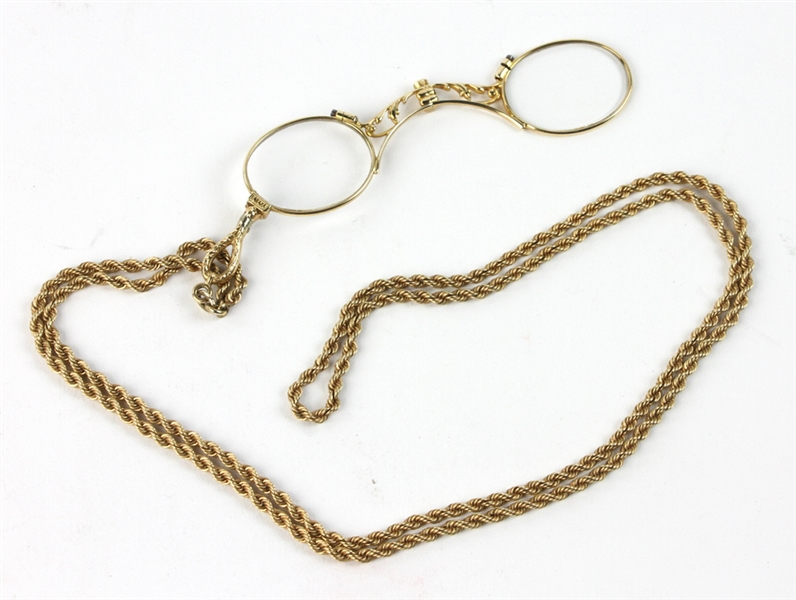 Antique Gold Lorgnette with Necklace