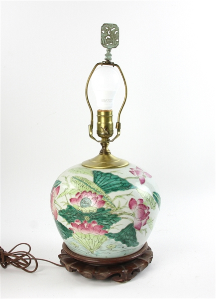 19thC Chinese Mandarin Ginger Jar Lamp