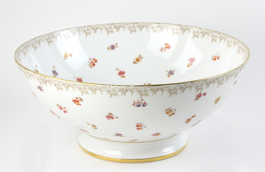 French Floral Decorated Punch Bowl